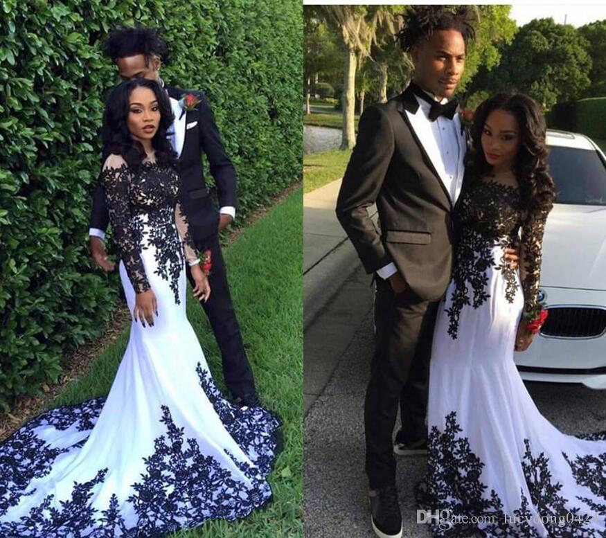 Blanco y negro apliques de tul de manga larga vestidos de baile Nigeria negro niña Bateau Prom sirena árabe ocasión vestido de noche