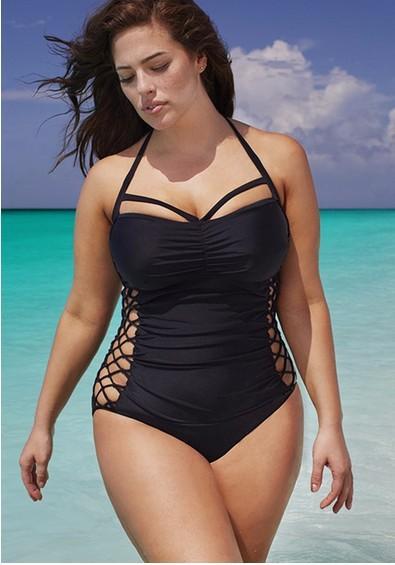 2016 plus size swimwear one piece solid color halter XL- 2XL-3XL bathing  suits ...