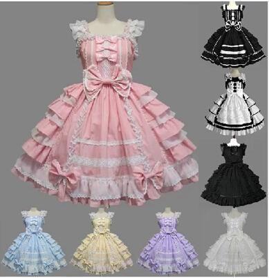 Customized Glamorous Cheap Pink/Red/Black Cotton Ruffled Lace Gothic Lolita Dress Girls Princess Sweet Lolita Dress Costume 2016