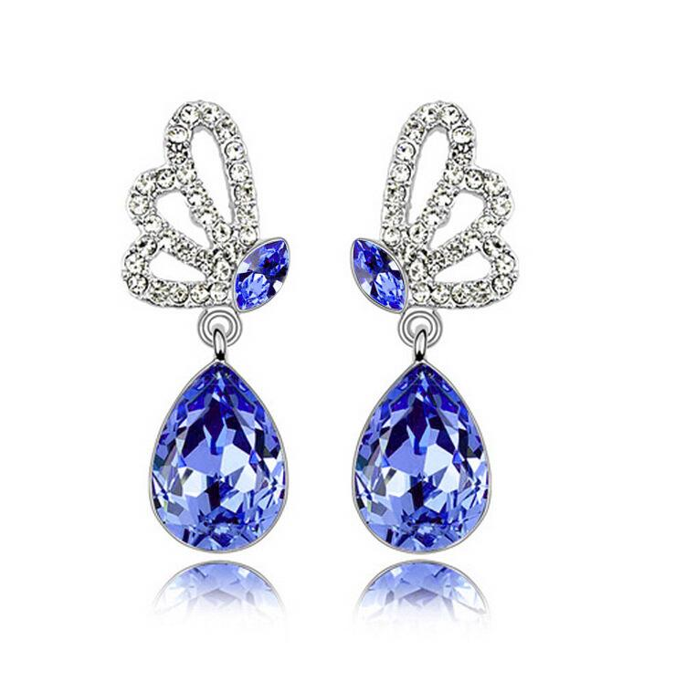 Wholesales Fashion Jewelry 925 silver White Gold Plated Swarovski ELements Crystal Trendy Butterfly Stud Earrings for women Wedding Jewelry