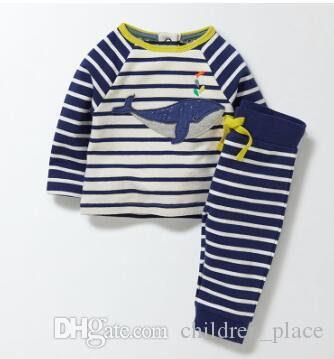 Wholesale Brand New Toddler Boys Fashion Whale Embroidery Striped Clothing Set Baby Boy Casual HomeWear Sleepwear 2 Pieces Set Free Shipping