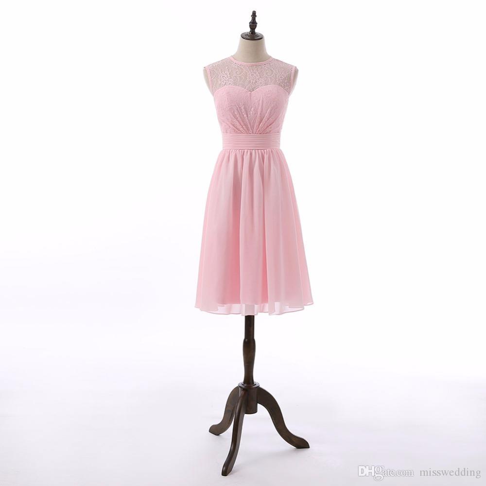 großhandel hochwertige Ärmellose rosa brautjungfer kleid chiffon a linie  stil spitzenkleid elegante damen geburtstag party kleid von misswedding,