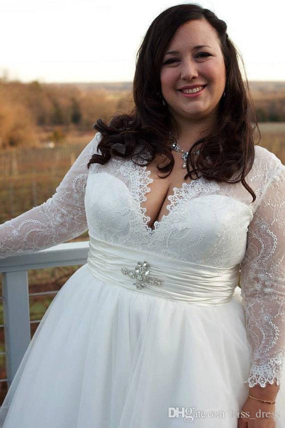 Bohemian Country Plus Size A Line Abiti da sposa 2019 Nuovi abiti da sposa in pizzo con scollo a V e maniche lunghe con scollo a V Abiti da sposa W722