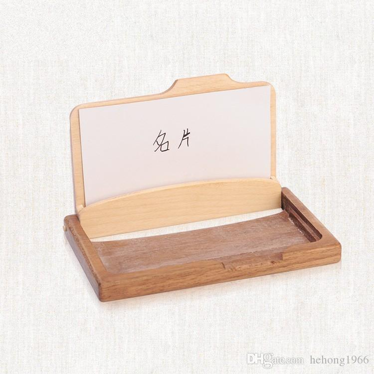 Wooden Business Card Holder Creative Fashion High Grade Solid Wood Multi Function Storage Box Gift For Friends Hot Sale 14js J R