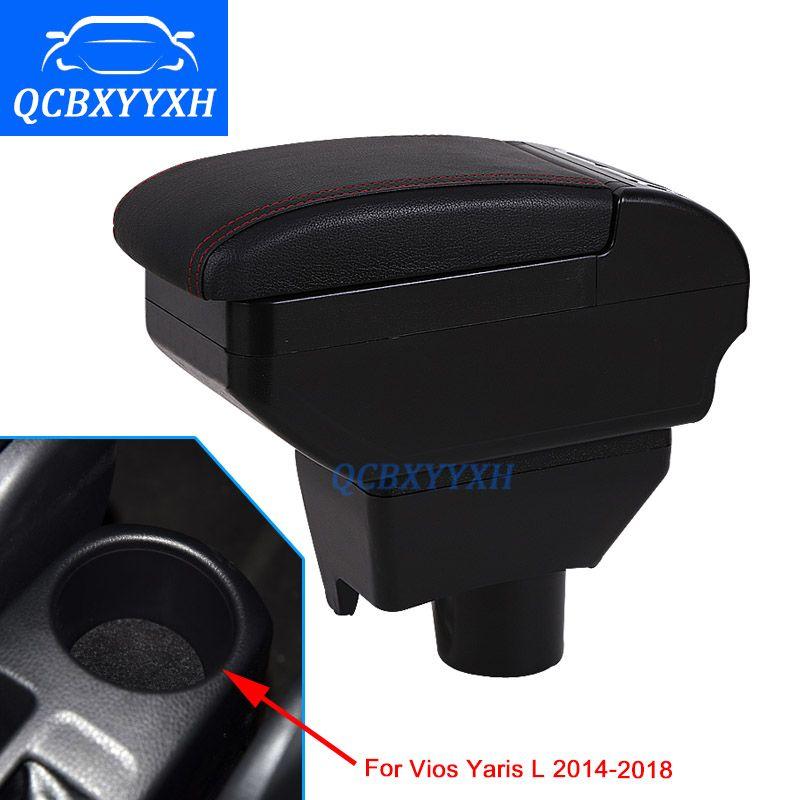 자동차 스타일링 Toyota Yaris L 새 Vios Armrest Box 중앙 보관함 내용물 저장 상자 컵 홀더 재떨이 인터페이스 2014-2018