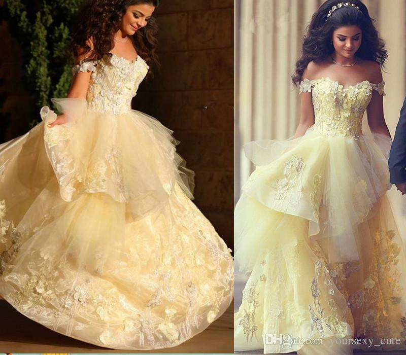 Light Yellow Ball Gown Prom Dresses Sweetheart Off Shoulder Appliques Tulle  Floor Length Backless Saudi Arabic Evening Gowns Formal Dresses Backless