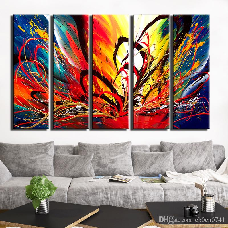 100% handgemachte moderne schöne rote Leidenschaft High Q. Abstraktes Wand-Dekor-Ölgemälde auf Segeltuch 5pcs / set