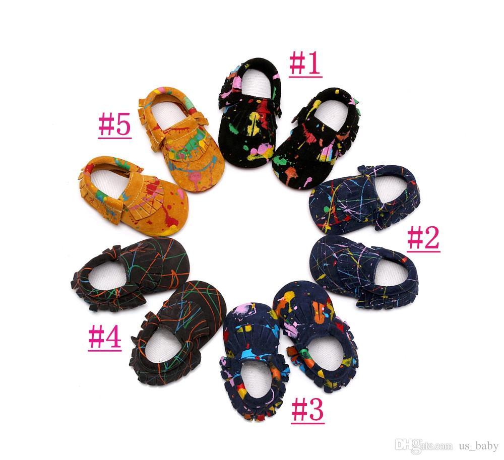 Infant Scrawl print genuine leather shoes Baby girl boy soft sole tassel Moccasins Newborn First Walkers