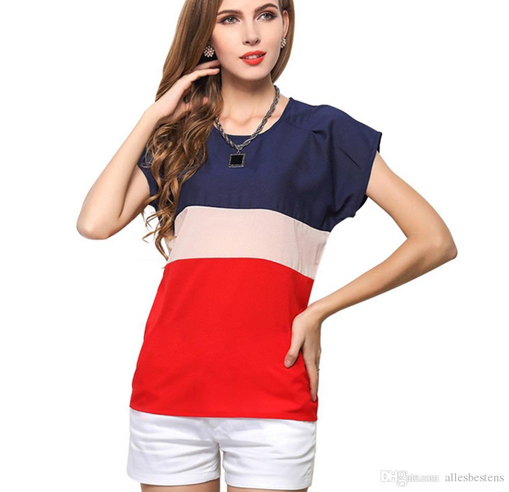 New Design Summer Chiffon T-shirts Ladies Tops Casual Tees Womens Fashion Tshirts Short Sleeve O-neck Teeshirts Plus Size S M L XL 2XL 3XL