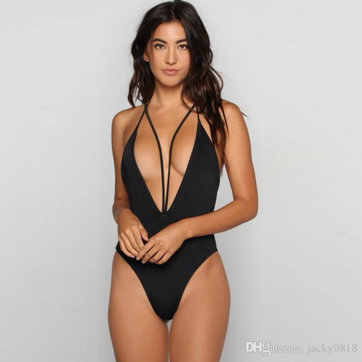 Black High Cut High Waist Swimsuit Sling Backless Swimwear Women Summer Brazilian Beach Bathing Suit One-Piece Suits S M L