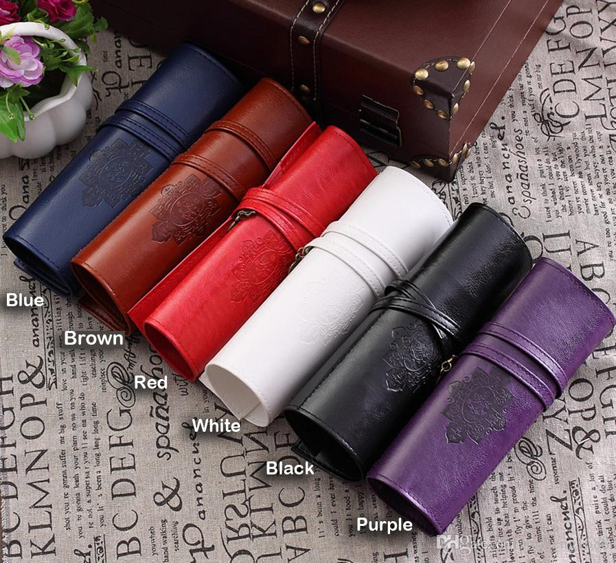 Retro Vintage PU Leather Unisex Rolling Up Pen Pencil Case Pouch Purse Bag Makeup Cosmetic Brushes Holder Box for Women Men
