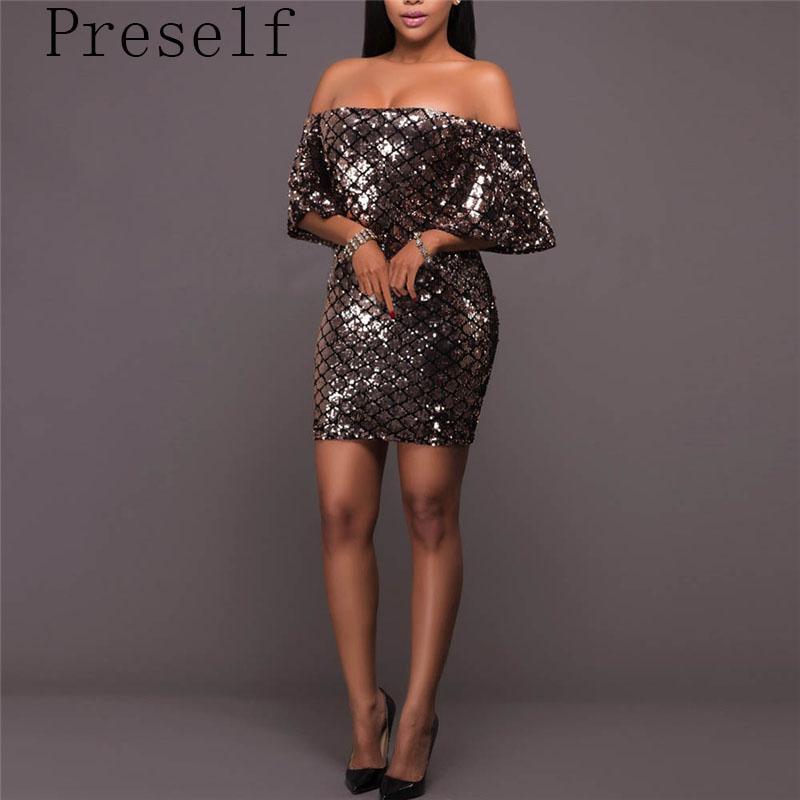 Preself Summer Sexy mini paillettes Bodycon dress donne backless metal party Night Club Off spalla abiti vestidos plus size q171118