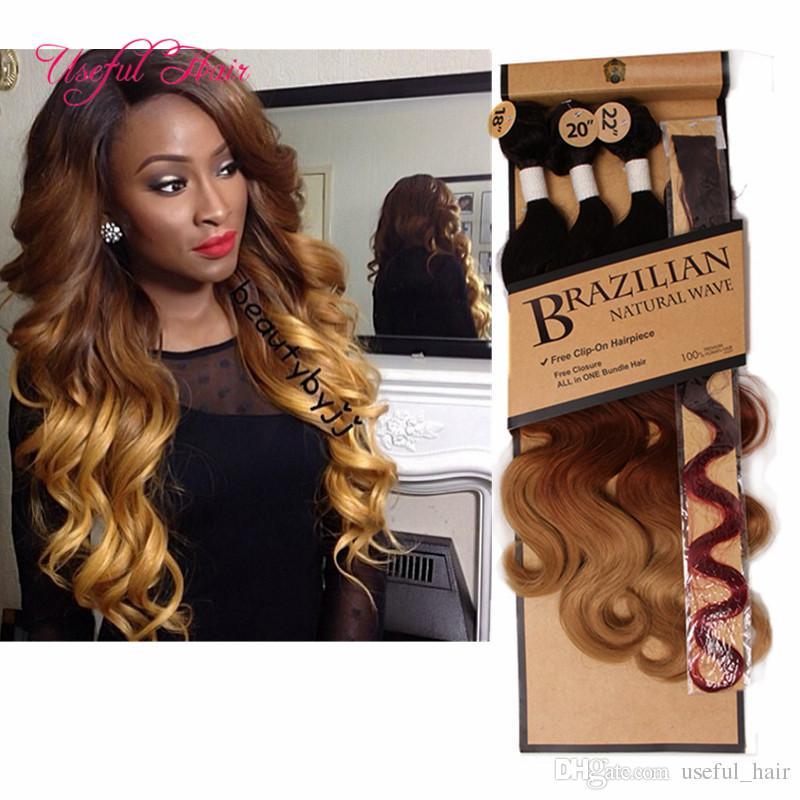 18-22inch Máquina de cabelo tramas duplas feixes cabelo onda do corpo 4pcs / lot tece costurar sintético em extensões do cabelo tece fechamento para as mulheres marga