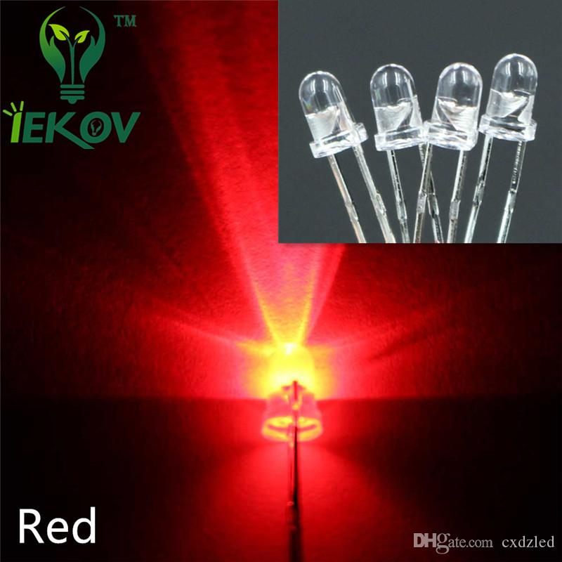 1000pcs / bag 3MM Round Top Red led Urtal Parlak Ampul Led Lamba 3mm yayan diyot Elektronik Bileşenleri Toptan Sıcak Satış