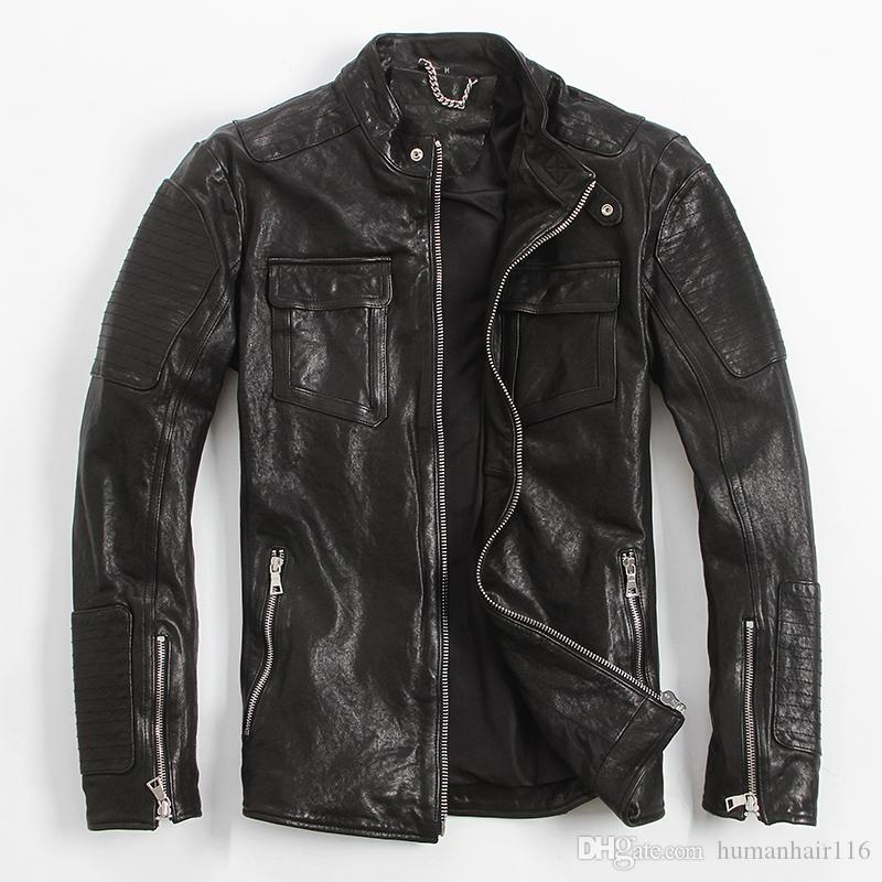 Free Shipping Tujuh Men Black Genuine Italian Leather Jackets Stand Collar Real Sheepskin Short Casual Leather Coat Factory Direct Sizel Delapan From