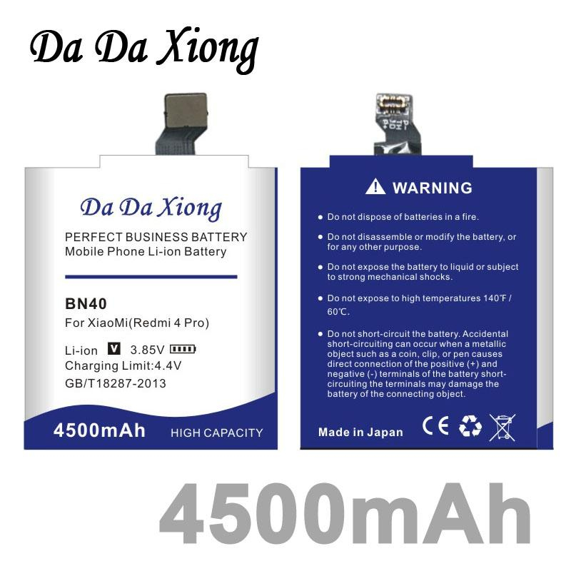 Da Da Xiong 4500mAh BN40 Battery for Xiaomi Redmi 4 Pro for 3G RAM 32G ROM Edition