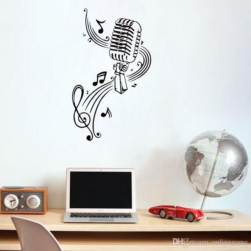 Adesivo da parete in vinile Decalcomanie Camera da letto Design MICROFONO Note musicali Bar parrucchiere Wall stickers home decor fai da te poster in carta 50 * 85 cm
