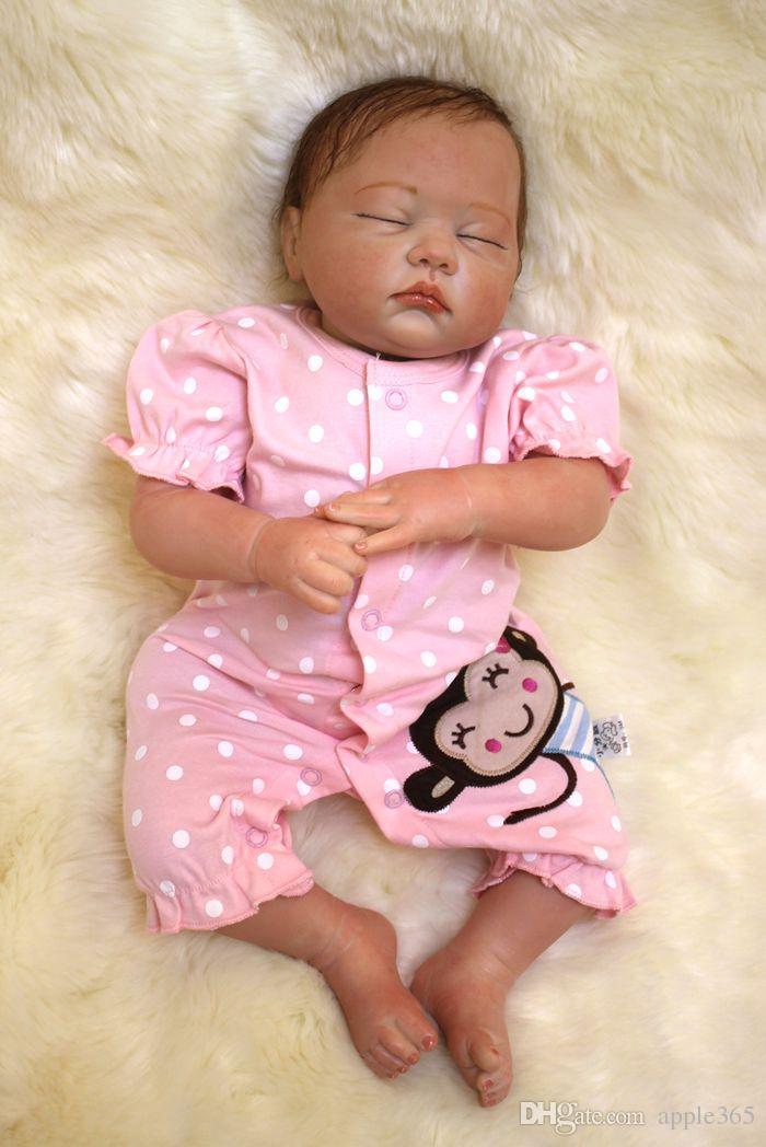 49 см / 20 дюймов ручной работы возрождается кукла девочка новорожденный жизнь, как мягкий винил силикон мягкий нежное прикосновение ткань тела магнитная соска