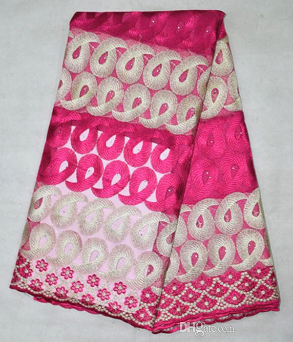 5 Yds/lot BN26-2 Hot sale fuchsia african mesh lace with double rope embroidery french net lace fabric for party clothing