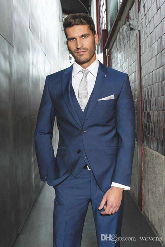Royal Blue Mens Wedding Suits Two Buttons Slim Fit Custom Made Grooms Tuxedo Three Pieces Prom Suit(Jacket+Pants+Vest)