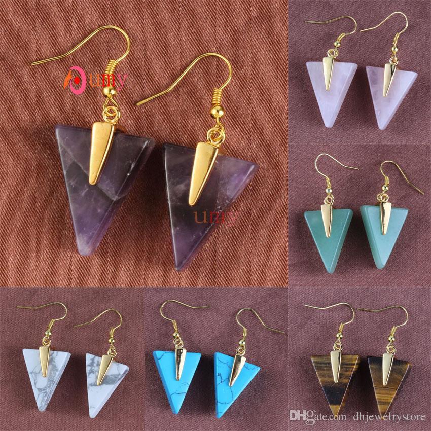 Commercio all'ingrosso 10pcs stile semplice triangolo forma multi colorato quarzo pietra placcato oro ciondola gancio gioielli orecchino di fascino