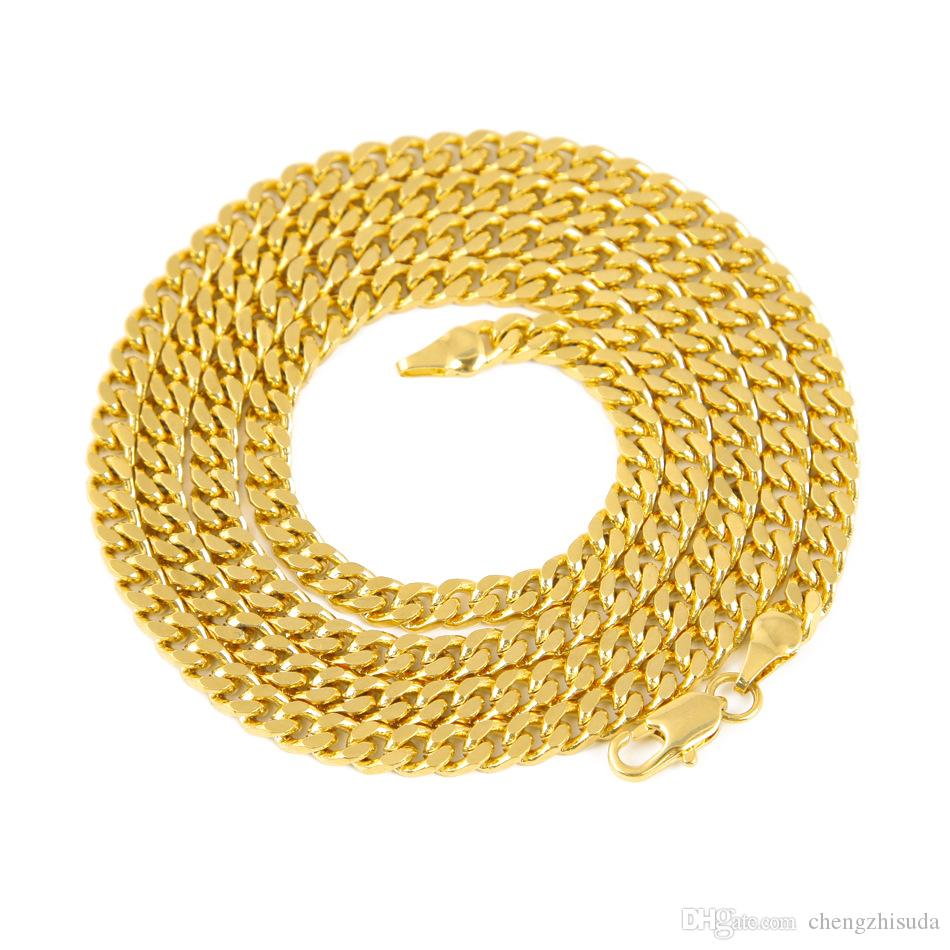 5mm/30inch 3mm/24inch Real 24K Yellow Gold Rhodium Plated Solid Cuban Curb Chain Mens Necklace Hip Hop Jewelry Style