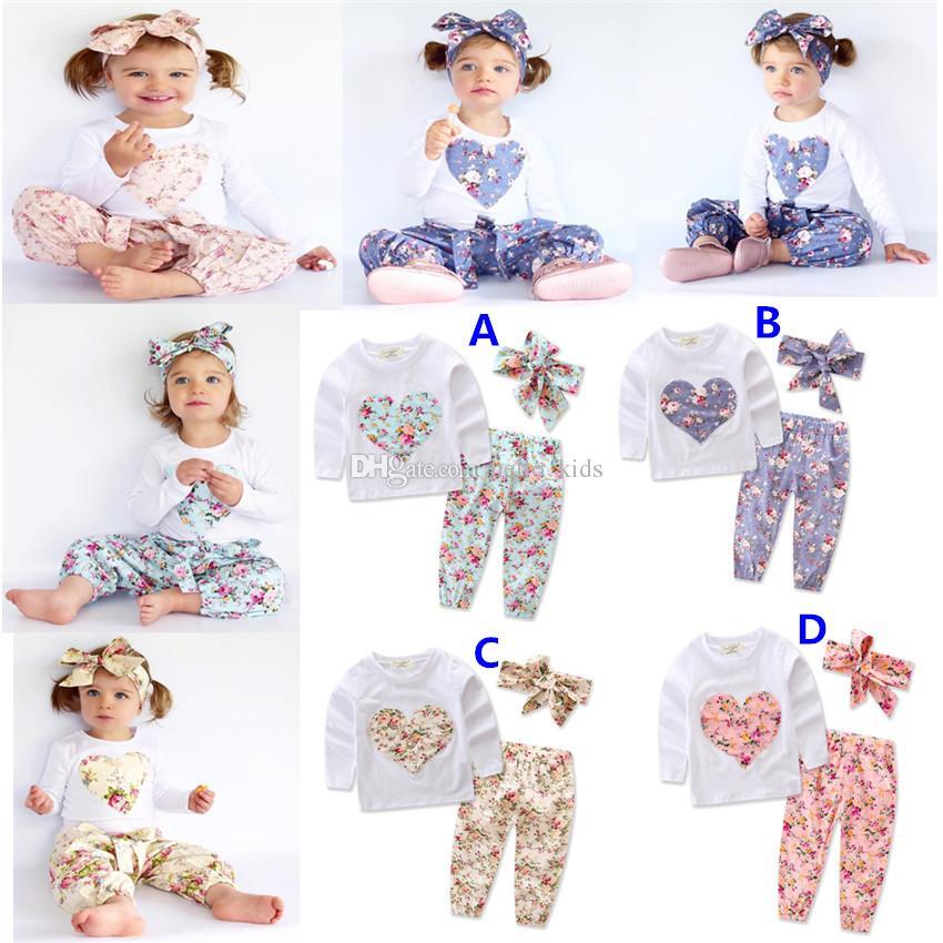Baby Girl INS Em Forma de Coração Ternos de Flores Crianças Criança Infantil Casual Curto de manga Longa T-shirt + Calças + Faixa de Cabelo 3 pcs Conjuntos Pijamas Roupas