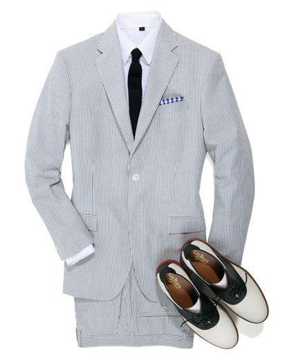 Design weiße und blaue Streifen Seersucker Smoking für Männer Strand Hochzeitsanzüge für Groomman Sommer Hochzeitsanzüge für Bestman (Jacke + Hose + Krawatte)