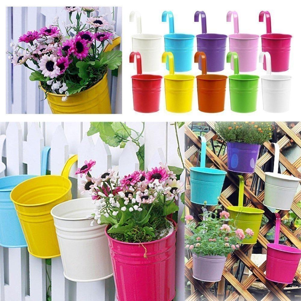 4PCS Flower Pots Metal Iron Flower Pot Hanging Balcony Garden Plant Planter Home Decor, Colors Mixed