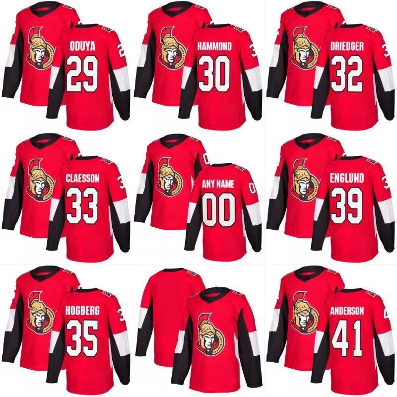 2017-2018 Season Ottawa Senatorowie Jersey Puste 29 Johnny Oduya 30 Andrew Hammond 32 Chris Driedger 33 Fredrik Claesson Custom Hockey Koszulki