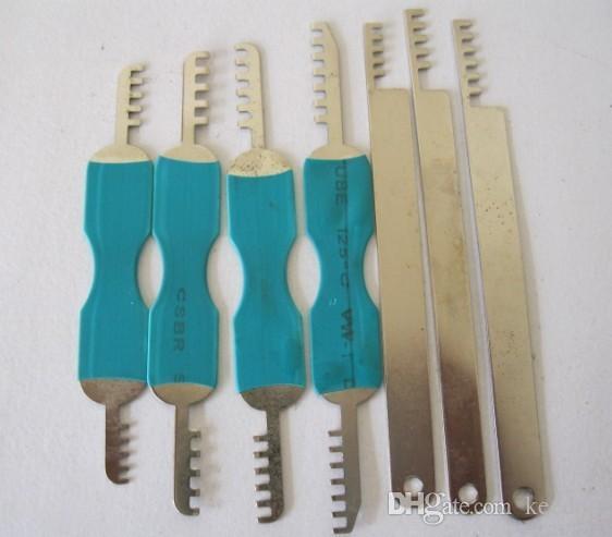 أفضل جودة عالية 7PCS قفل مشط الأقفال أداة قفل اختيار مجموعة الفولاذ المقاوم للصدأ أداة اليد شحن مجاني