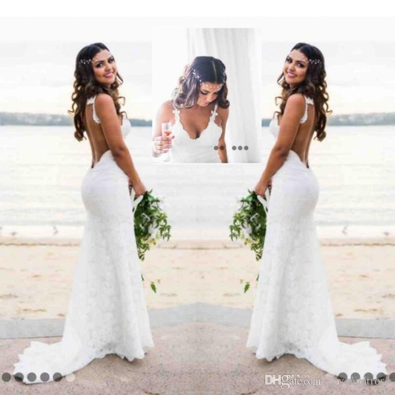Sexy Lace Beach Wedding Dresses Open Back Country Wedding Dress Puffy Plus Size Mermaid Bridal Gowns Cheap