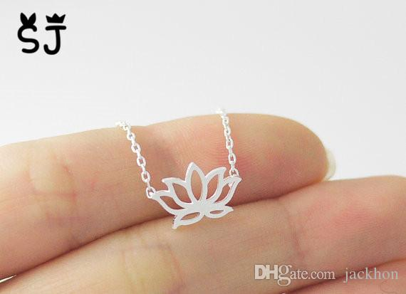 30PCS- N007 Gold Silver Tiny Lotus Necklace Lotus Flower Necklace Petal Bloom Blossom Necklaces Plant Jewelry for lady women