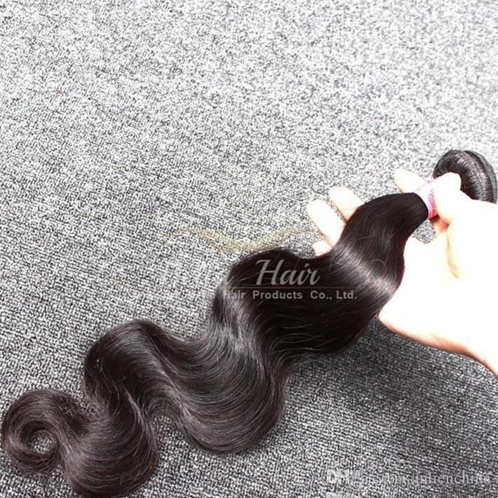 Obehandlat malaysiska mänskliga hårförlängningar Grade 9a 2pcs / mycket naturlig färgkroppsvåg hår väftfri frakt