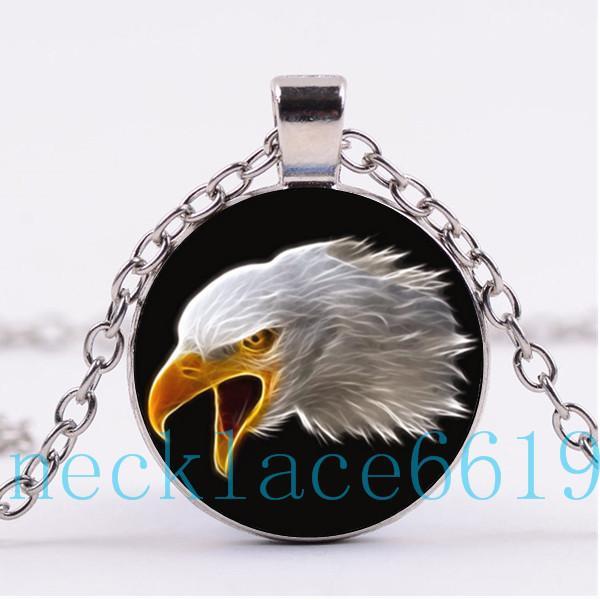 10шт США Орел ожерелье кулон,Рождественский подарок, Подарок на день рождения, кабошон стекло ожерелье, серебро / черный ювелирные изделия R-1152