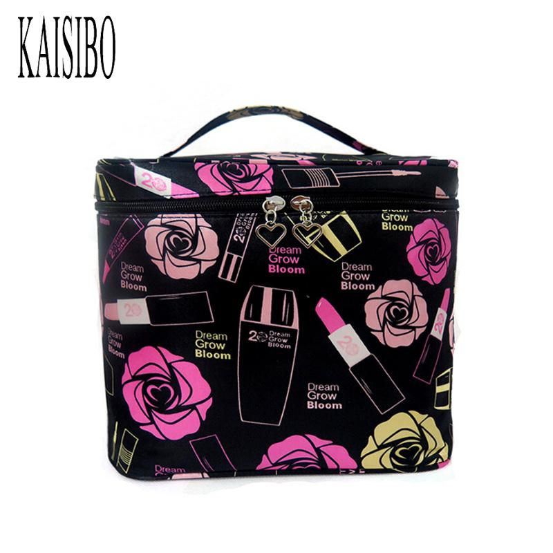 Kaisibo Women Roses Floral Cosmetic Bag Fashion Large Travel Lady Makeup Bags Borsa da toilette Organizer Makeup Neceser