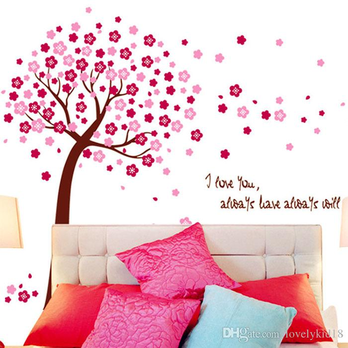 Pink Blue Peach Blossom Wall Stickers I Love You Floral Tree Wall ...