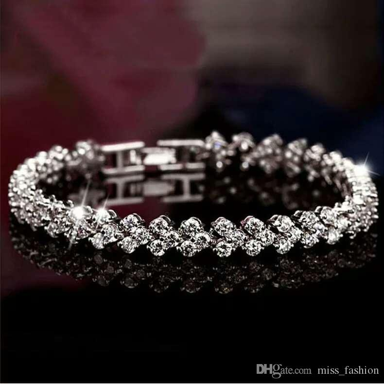 925 pulseiras prata pulseiras de cristal jóias charme Swarovski Elements Rhinestone moda cadeia de casamento do vintage de alta qualidade
