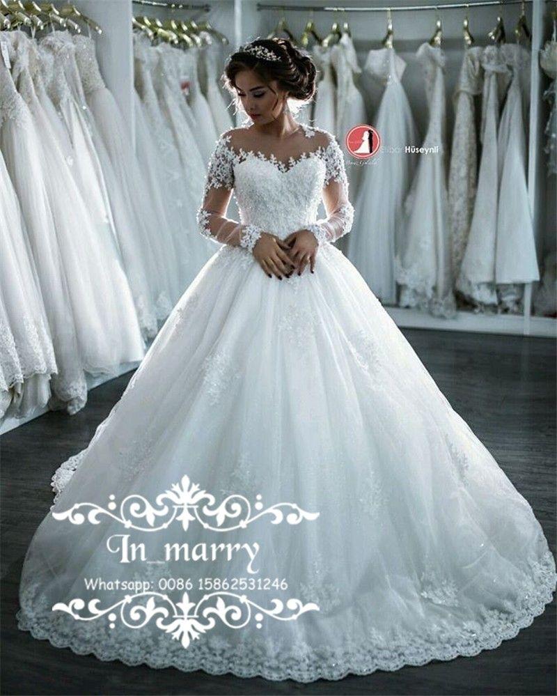 Discount Luxury Winter Islamic Muslim Wedding Dresses 2017 A Line ...