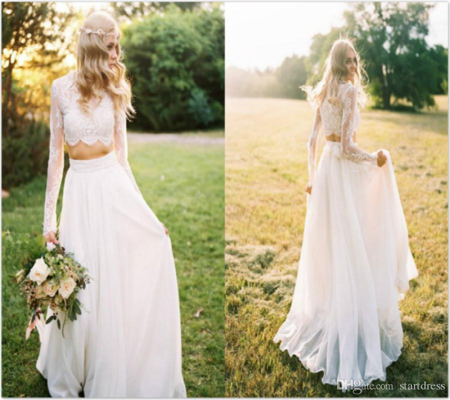 Country Wedding Dresses Two Piece Scoop Lace Chiffon Beach Wedding Dresses Sheer Neck Beautiful Long Sleeve Bohemian Wedding Dresses Berta