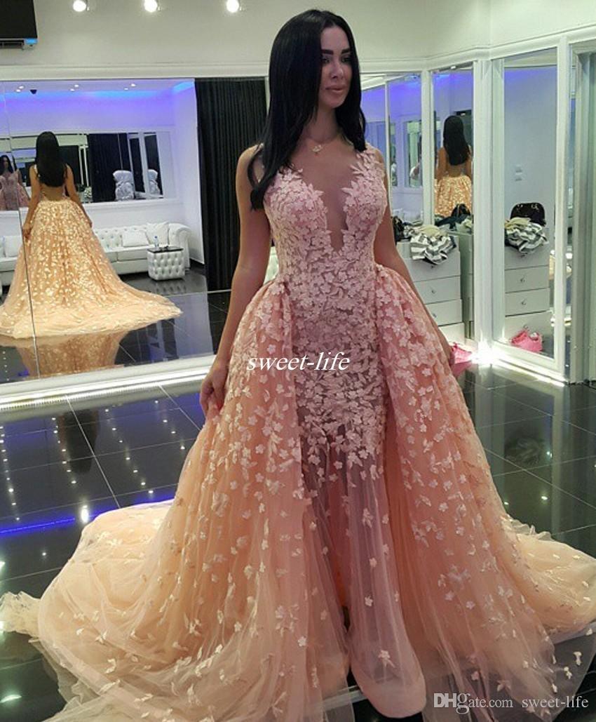 Zuhair Murad Abendkleider 2020 Backless Blush Tulle Illusion mit V-Ausschnitt Appliqued Spitze Abendkleider Lange Festzug-Partei-Kleid Günstige