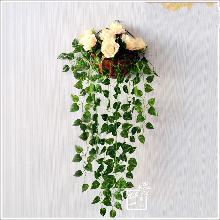 20 pçs / lote 90 CM longo artificial folhas de flor verde Ivy Rattan falso folhagem flores home decor frete grátis