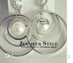 maravillosa cirlces plateada incrustaciones pearl lady; s aretes diam 5cm) (jennifer)