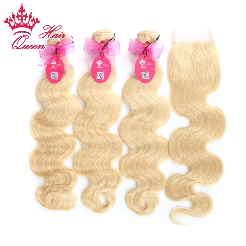 Productos para el cabello de la reina 4pcs / lot Brasilian Virgin Hair Body Wave 5A grado Cierre de encaje de pelo humano con paquetes, blanqueado # 613 rubio