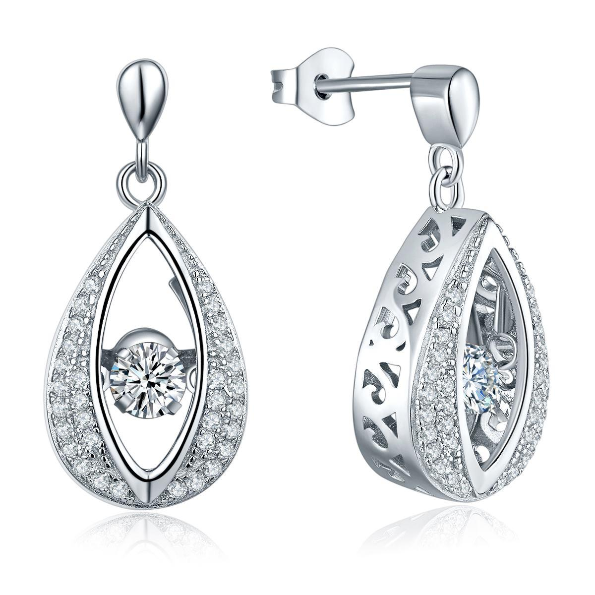 Dancing Stone Sterling Silver 925 Eye Shape Vintage Dangle Long Earrings  Fashion Jewelry Prong Rhodium Plated For For Women Gift De16310a From