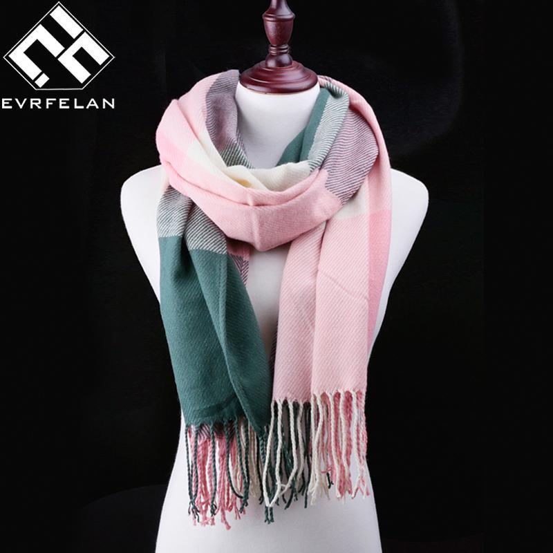 Gute Qualität! Neue 2016 Frauen Winter Schal Für Frauen Schal Und Schal Warme Weibliche Plaid Schal Frauen Schal echarpe Drop Shipping