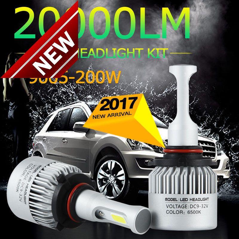 2pcs 200W 20000LM H10 9005 HB3 Waterproof LED Lamp Headlight Kit Car Beam Bulbs 6000K White Free Shipping