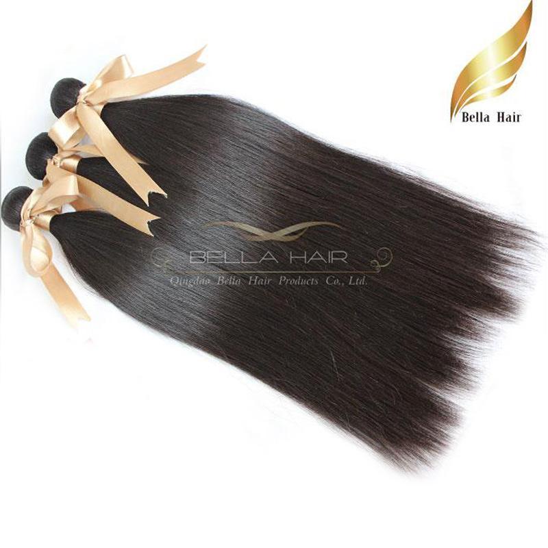 100% peruanisches Menschenhaar Weaves 3pcs / lot Glattes Haar-Verlängerungen Jungfrau-Haar-Bundles Doppeleinschlag DHL-freies Verschiffen-natürliche Farben Bellahair