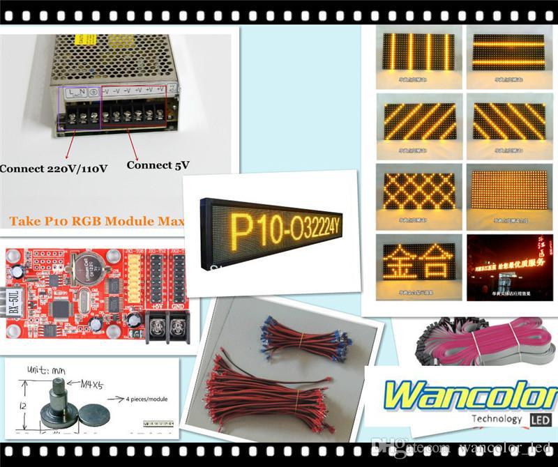 무료 배송 20pcs p10 야외 LED 스크롤 디스플레이 노란색 컬러 p10 디스플레이 모듈 + 2pcs 전원 공급 장치 + wifi / usb 컨트롤러