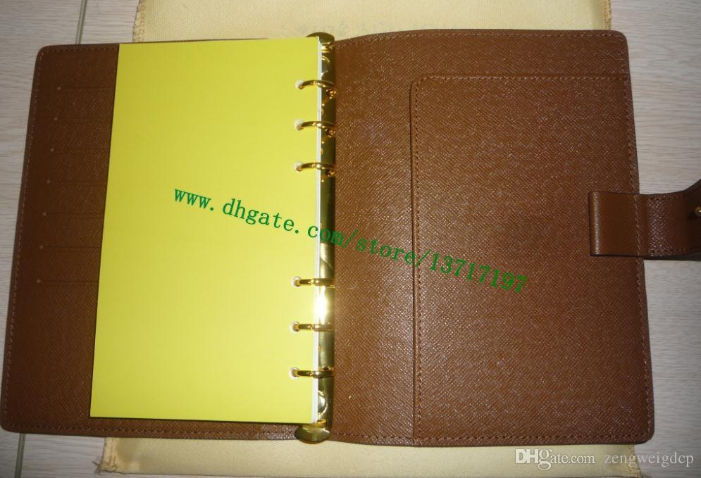 Top Oriiginal Grade Brown mono Canvas Coated Real Calf Leather MEDIUM RING AGENDA COVER R20105 Comes with 75 pages refills Gold Hardware
